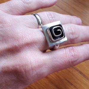 Modernist Vintage Sterling Silver Maze Ring Sz 8.5